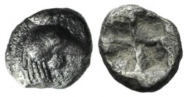 Troas, Dardanos, c. 5th century BC. AR Hemiobol (6mm, 0.38g). Cock's head r. R/ Quadripartite incuse square. Unpublished in the standard references, b...
