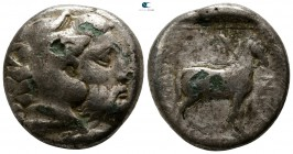 Kings of Macedon. Aigai. Amyntas III 393-369 BC. Foureé Didrachm AR