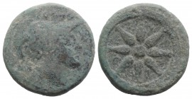 Northern Apulia, Luceria, c. 211-200 BC. Æ Quincunx (26mm, 13.96g). Helmeted head of Minerva r.; five pellets above. R/ Wheel of eight spokes. HNItaly...