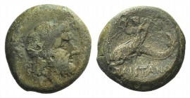 Northern Lucania, Paestum, 264-241 BC. Æ (20mm, 6.36g, 9h). Laureate head of Neptune r.; dolphin behind. R/ Eros, holding wreath and trident, riding d...