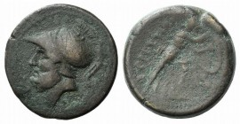 Bruttium, The Brettii, c. 211-208 BC. Æ Double Unit (26mm, 14.30g, 6h). Helmeted head of Ares l. R/ Athena advancing r., holding shield and spear. HNI...
