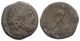 Bruttium, The Brettii, c. 211-208 BC. Æ Uncia (26mm, 10.59g, 9h). Laureate head of Zeus r.; thunderbolt behind. R/ Naked warrior advancing r., holding...