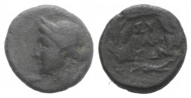 Sicily, Syracuse, after 212 BC. Æ (15mm, 3.71g, 12h). Wreathed head of Kore l. R/ Ethnic in three lines in wreath. CNS II, 217; SNG ANS 1096-8; HGC 2,...