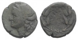 Sicily, Syracuse, after 212 BC. Æ (14mm, 3.09g, 12h). Wreathed head of Kore l. R/ Ethnic in three lines in wreath. CNS II, 217; SNG ANS 1096-8; HGC 2,...