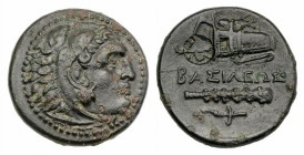 Kings of Macedon, Alexander III 'the Great' (336-323 BC). Æ (20mm, 6.07g, 3h). Uncertain mint in Western Asia Minor. Head of Herakles r., wearing lion...