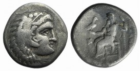 Kings of Macedon, Alexander III 'the Great' (336-323 BC). AR Drachm (17mm, 4.00g, 9h). Uncertain mint. Head of Herakles r., wearing lion skin. R/ Zeus...