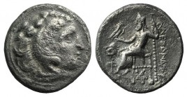 Kings of Thrace, Lysimachos (305-281) AR Drachm (17mm, 3.95g, 12h). In the name and types of Alexander III. Kolophon, circa 301/0-300/299 BC. Head of ...