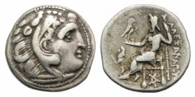 Kings of Thrace, Lysimachos (305-281 BC). AR Drachm (17mm, 3.93g, 11h). In the types of Alexander III of Macedon. Kolophon, c. 299/8-297/6 BC. Head of...