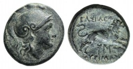 Kings of Thrace, Lysimachos (305-281 BC). Æ (19mm, 5.55g, 1h). Helmeted head of Athena r. R/ Lion leaping r.; kerykeion, monogram and spear-head below...