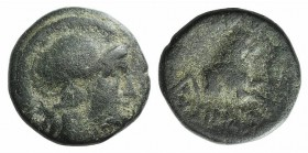 Kings of Thrace, Lysimachos (305-281 BC). Æ (13mm, 2.51g, 12h). Helmeted head of Athena r. R/ Forepart of a lion r.; kerykeion and monogram to l., spe...