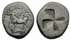Thrace, Byzantion, 416-357 B.C. AR Diobol (10mm, 1.15g). Heifer standing l.; dolphin below. R/ Quadripartite incuse square with mill-sail pattern. SNG...