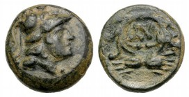 Thrace, Lysimacheia, c. 309-220 BC. Æ (10mm, 1.46g, 12h). Helmeted head of Athena r. R/ Legend within grain-wreath. SNG Copenhagen 921. Green patina, ...