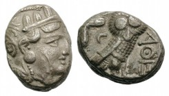 Attica, Athens, c. 327-294 BC. AR Tetradrachm (21mm, 16.59g, 9h). Head of Athena r., wearing crested Attic helmet. R/ Owl standing r.; olive sprig and...