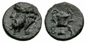Cyclades, Syros, 3rd-1st centuries BC. Æ (11mm, 1.61g, 12h). Wreathed head of Dionysos l. R/ Kantharos. SNG Copenhagen -; cf. Laffaille 134 (symbols)....