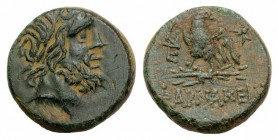 Pontos, Pharnakeia, c. 85-65 BC. Æ (20mm, 7.60g, 12h). Laureate head of Zeus r. R/ Eagle standing l. on thunderbolt with open wings, head r.; monogram...