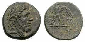 Bithynia, Dia, c. 85-65 BC. Æ (21mm, 7.31g, 12h). Laureate head of Zeus r. R/ Eagle standing l., head r., on thunderbolt; monograms flanking. HGC 7, 4...