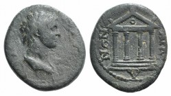 Bithynia, Kios(?). Pseudo-autonomous issue. Æ (18mm, 3.16g, 6h). Draped bust of Senate(?) r. R/ […]IANΩN, Tetrastyle temple with circle in pediment. V...