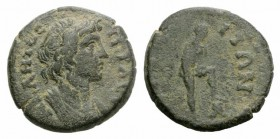 Mysia, Attaea. Pseudo-autonomous issue, c. 2nd century AD (18mm, 4.31g, 6h). Draped bust of Senate r. R/ Youthful male standing r., with foot on rock....