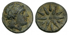 Mysia, Gambrion, after 350 BC. Æ (15mm, 3.80g). Laureate head of Apollo r. R/ Eight-rayed star. SNG BnF 908-21. Green patina, about VF