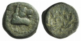 Mysia, Kyzikos, 2nd-1st century BC. Æ (13mm, 3.68g). Bull head r. R/ Ethnic and monogram within wreath. Cf. SNG BnF 480-8. Green patina, Good Fine