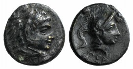 Mysia, Pergamon, c. 310-282 BC. Æ (9mm, 0.98g, 12h). Head of Herakles r., wearing lion skin. R/ Helmeted head of Athena r. SNG BnF 1595-6; SNG Copenha...