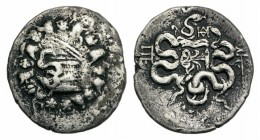 Mysia, Pergamon, c. 128-123 BC. AR Cistophoric Tetradrachm (24mm, 12.05g, 12h). Cista mystica with serpent; all within ivy wreath. R/ Bow-case with se...