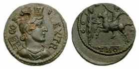 Troas, Alexandria. Pseudo-autonomous issue, 2nd-3rd century AD. Æ (21mm, 7.48g, 12h). Turreted and draped bust of Tyche r., with vexillum over shoulde...
