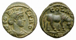 Troas, Alexandria. Pseudo-autonomous issue, c. mid 3rd century AD. Æ (21mm, 4.40g, 12h). COL TRO, Turreted and draped bust of Tyche r., with vexillum ...