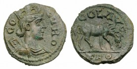 Troas, Alexandria. Pseudo-autonomous issue, c. mid 3rd century AD. Æ (20mm, 6.02g, 6h). COL TRO, Turreted and draped bust of Tyche r., with vexillum o...