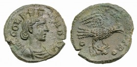 Troas, Alexandria. Pseudo-autonomous issue, c. mid 3rd century AD. Æ (20mm, 6.23g, 12h). Turreted and draped bust of Tyche r.; vexillum behind. R/ Eag...