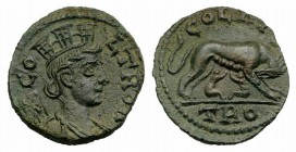 Troas, Alexandria. Pseudo-autonomous issue, c. mid 3rd century AD. Æ (20mm, 5.54g, 6h). Turreted and draped bust of Tyche r.; vexillum behind. R/ She-...