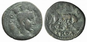 Troas, Alexandria. Pseudo-autonomous issue, c. mid 3rd century AD. Æ (22mm, 5.60g, 12h). Turreted and draped bust of Tyche r.; vexillum behind. R/ She...