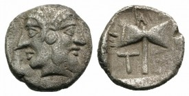 Islands of Troas, Tenedos, late 5th-early 4th century BC. AR Obol (8mm, 0.60g, 3h). Janiform head, female on l., male on r. R/ Labrys within incuse sq...