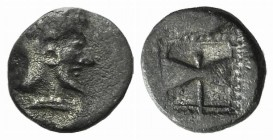 Islands of Troas, Tenedos, c. 450-387 BC. AR Obol (8mm, 0.53g, 12h). Janiform female and male heads. R/ Labrys (double axe) within shallow incuse squa...
