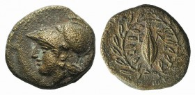 Aeolis, Elaia, mid 4th-3rd century BC. Æ (11mm, 1.40g, 12h). Helmeted head of Athena l. R/ Grain-seed within olive-wreath. SNG Copenhagen 171-2. VF
