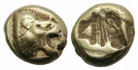 Lesbos, Mytilene, c. 521-478 BC. EL Hekte (8mm, 2.56g). Head of roaring lion r. R/ Incuse head of calf r., within rectangular punch. Bodenstedt Em. 13...