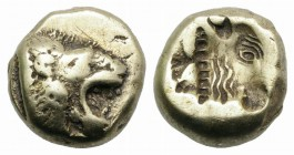 Lesbos, Mytilene, c. 521-478 BC. EL Hekte (9mm, 2.50g). Head of roaring lion r. R/ Incuse head of calf r., within rectangular punch. Bodenstedt Em. 13...