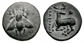 Ionia Ephesos, c. 390-320/00 BC. Æ (14mm, 1.61g, 12h). Bee. R/ Stag kneeling l., head r.; astragalos above. Cf. SNG Copenhagen 247-253 (magistrate). D...