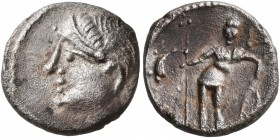 CELTIC, Central Gaul. Aedui. Circa 80-50 BC. Quinarius (Silver, 14 mm, 1.76 g, 1 h), Viipotal. Female head to left. Rev. [VIIPOTAL] Warrior standing f...