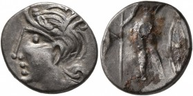 CELTIC, Central Gaul. Aedui. Circa 80-50 BC. Quinarius (Silver, 14 mm, 1.70 g, 1 h), Viipotal. Female head to left. Rev. [VIIPOTAL] Warrior standing f...