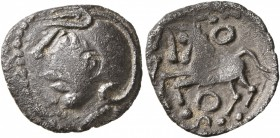 CELTIC, Central Gaul. Aedui. Circa 80-50 BC. Quinarius (Silver, 15 mm, 1.70 g, 3 h). Helmeted head to left. Rev. Celticized horse springing left; abov...