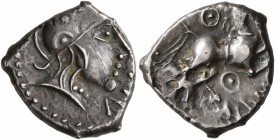 CELTIC, Central Gaul. Aedui. Circa 80-50 BC. Quinarius (Silver, 14 mm, 1.91 g, 6 h), Anorbus/Dubno. A[NORBVS] Helmeted head to right. Rev. DVB[NO] Hor...