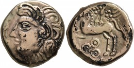 CELTIC, Central Gaul. Bituriges Cubi. Circa 80-50 BC. Stater (Subaeratus, 18 mm, 5.24 g, 9 h), Abucatos. Celticized male head to left. Rev. [ABVCATOS]...