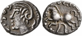 CELTIC, Central Gaul. Sequani. Circa mid 1st century BC. Quinarius (Silver, 13 mm, 2.00 g, 1 h), Togirix. TOGI[RIX] Celticized head of Roma to left. R...