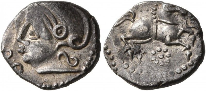 CELTIC, Central Gaul. Uncertain tribe. Mid 1st century BC. Quinarius (Silver, 14...