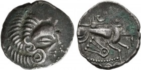 CELTIC, Northwest Gaul. Coriosolites. Circa 100-50 BC. Stater (Billon, 24 mm, 6.43 g, 10 h). Celticized head of Apollo to right. Rev. Celticized chari...