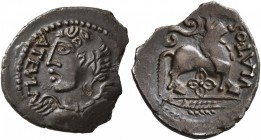 CELTIC, Northeast Gaul. Remi. Circa 50-30 BC. Quinarius (Silver, 16 mm, 1.31 g, 11 h). AVTELA Bust of winged Victory wearing torc to left. Rev. VLATOS...