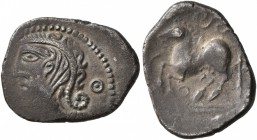 CELTIC, Northeast Gaul. Remi. Circa 50-30 BC. Quinarius (Silver, 15 mm, 1.68 g, 11 h). [CALEDV] Celticized diademed bust to left, with hair ending in ...