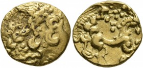 CELTIC, Northeast Gaul. Uncertain tribe. 2nd century BC. 1/4 Stater (Gold, 18 mm, 1.93 g, 1 h). Celticized laureate head of Apollo to right. Rev. Devo...