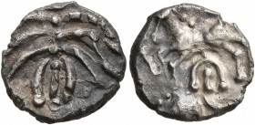 CELTIC, Central Europe. Helvetii. Mid 1st century BC. Quinarius (Silver, 12 mm, 1.88 g), 'Büschelquinar'. Palmette made from eight curved leaves conne...
